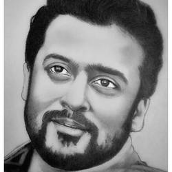 indian actor suriya shivkumar, 8 x 11 inch, shivkumar  menon,8x11inch,drawing paper,drawings,art deco drawings,fine art drawings,portrait drawings,paintings for living room,graphite pencil,GAL098622630