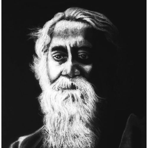 rabindranath tagore - indian poet and artist, 8 x 11 inch, shivkumar  menon,8x11inch,drawing paper,drawings,art deco drawings,fine art drawings,portrait drawings,paintings for living room,charcoal,GAL098622631