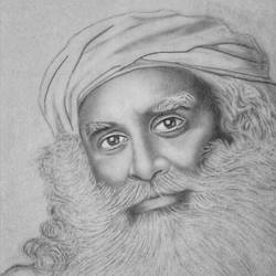 sadhguru jaggi vasudev - indian yogi, 8 x 11 inch, shivkumar  menon,8x11inch,drawing paper,drawings,art deco drawings,fine art drawings,portrait drawings,paintings for living room,graphite pencil,GAL098622633