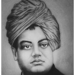 swami vivekananda, indian hindu monk, 8 x 11 inch, shivkumar  menon,8x11inch,drawing paper,drawings,fine art drawings,portrait drawings,paintings for living room,graphite pencil,GAL098622641