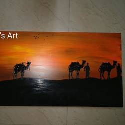 rajasthan camel safari, 12 x 24 inch, sayali deshpande,12x24inch,canvas,paintings,folk art paintings,paintings for dining room,paintings for living room,paintings for office,paintings for hotel,paintings for dining room,paintings for living room,paintings for office,paintings for hotel,acrylic color,GAL01044722645
