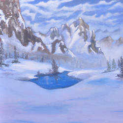 snow mountain, 20 x 16 inch, ananjay sharma,20x16inch,canvas,paintings,landscape paintings,paintings for dining room,paintings for living room,paintings for bedroom,paintings for office,paintings for hotel,oil,GAL01266422650
