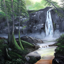 waterfall, 20 x 16 inch, ananjay sharma,20x16inch,canvas,paintings,landscape paintings,paintings for dining room,paintings for living room,paintings for bedroom,paintings for office,paintings for hotel,oil,GAL01266422651