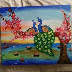 lovely peacocks, 10 x 12 inch, bhagyashree  kshirsagar ,10x12inch,canvas,paintings,love paintings,acrylic color,GAL01266922660heart,family,caring,happiness,forever,happy,trust,passion,romance,sweet,kiss,love,hugs,warm,fun,kisses,joy,friendship,marriage,chocolate,husband,wife,forever,caring,couple,sweetheart