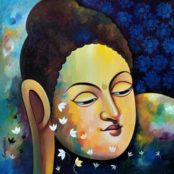 buddha 15, 36 x 36 inch, sanjay  tandekar ,36x36inch,canvas,paintings,buddha paintings,acrylic color,GAL0281022672