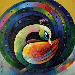 peacock 1, 15 x 15 inch, sanjay  tandekar ,15x15inch,canvas,paintings,contemporary paintings,paintings for living room,acrylic color,GAL0281022673