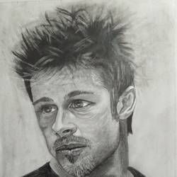 brad pit, 8 x 11 inch, manohar kasoju,8x11inch,drawing paper,paintings,portrait paintings,realism paintings,paintings for dining room,paintings for living room,paintings for bedroom,graphite pencil,GAL01147922684