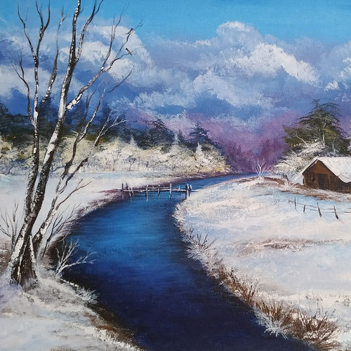 snow everywhere, 26 x 18 inch, dipu jose,26x18inch,canvas,paintings,abstract paintings,acrylic color,GAL0727222690Nature,environment,Beauty,scenery,greenery,snow,water,house,sky,clouds,beautiful