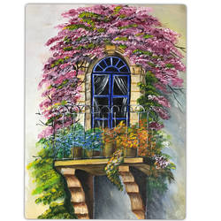tuscan balcony, 18 x 14 inch, sadaf khan,18x14inch,canvas,paintings,flower paintings,cityscape paintings,modern art paintings,paintings for dining room,paintings for living room,paintings for bedroom,acrylic color,GAL01247122691