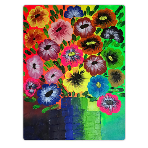beautiful flowers in a vase, 14 x 18 inch, sadaf khan,14x18inch,canvas,paintings,flower paintings,paintings for dining room,paintings for living room,paintings for bedroom,acrylic color,GAL01247122693