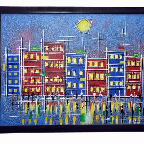 reflection of modern city life, 24 x 18 inch, virender verma,24x18inch,canvas,paintings,abstract paintings,cityscape paintings,paintings for office,paintings for hotel,acrylic color,GAL01272422694