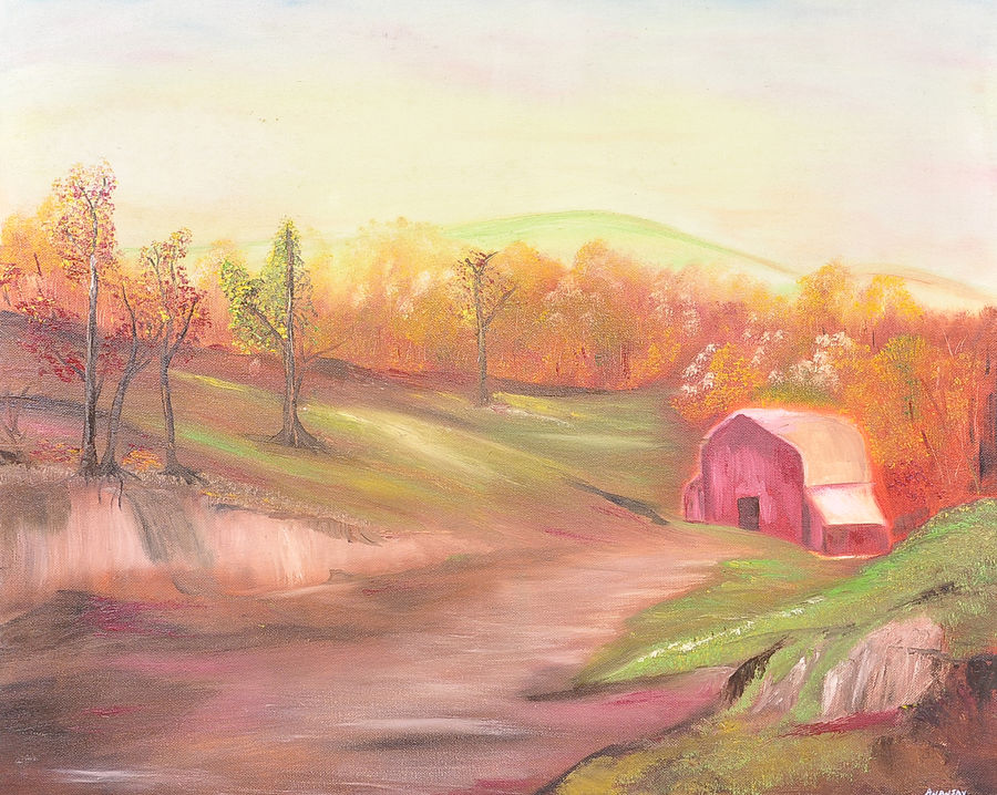 old barn, 24 x 20 inch, ananjay sharma,24x20inch,canvas,paintings,landscape paintings,nature paintings,paintings for dining room,paintings for living room,paintings for office,paintings for hotel,paintings for school,oil,GAL01266422698Nature,environment,Beauty,scenery,greenery