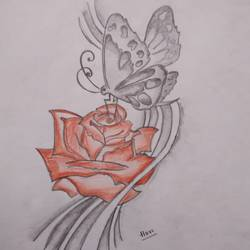 a rose beauty is beacause of a butterfly coming for it, 8 x 12 inch, muktevi lakshmi haritha,conceptual paintings,love paintings,thick paper,pencil color,8x12inch,GAL093227heart,family,caring,happiness,forever,happy,trust,passion,romance,sweet,kiss,love,hugs,warm,fun,kisses,joy,friendship,marriage,chocolate,husband,wife,forever,caring,couple,sweetheart