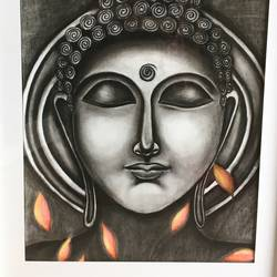 serenity, 24 x 30 inch, meghana verulkar,24x30inch,thick paper,paintings,buddha paintings,paintings for dining room,paintings for living room,paintings for bedroom,paintings for dining room,paintings for bedroom,charcoal,pencil color,GAL01261522701