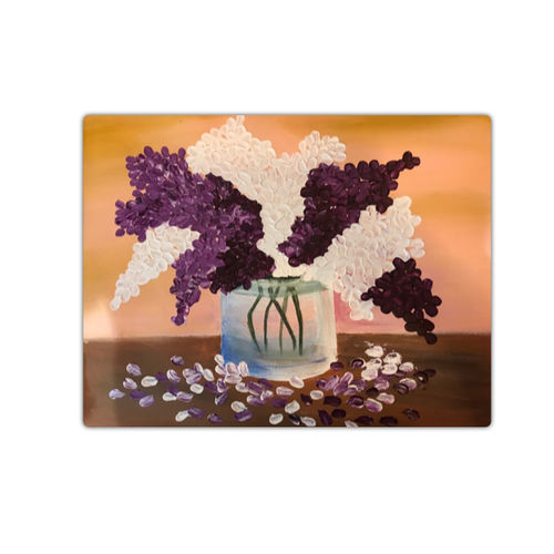 white and purple flowers, 18 x 14 inch, sadaf khan,18x14inch,canvas,paintings,flower paintings,paintings for dining room,paintings for living room,paintings for bedroom,paintings for office,paintings for hotel,paintings for kitchen,paintings for school,paintings for hospital,acrylic color,GAL01247122702