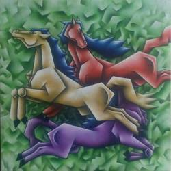 triple horses, 30 x 30 inch, sandeep salame,30x30inch,canvas,paintings,horse paintings,acrylic color,GAL0918622704