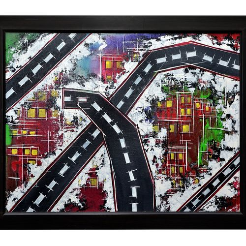 modern cityscape, 24 x 18 inch, virender verma,24x18inch,canvas board,paintings,abstract paintings,paintings for office,paintings for hotel,acrylic color,GAL01272422718