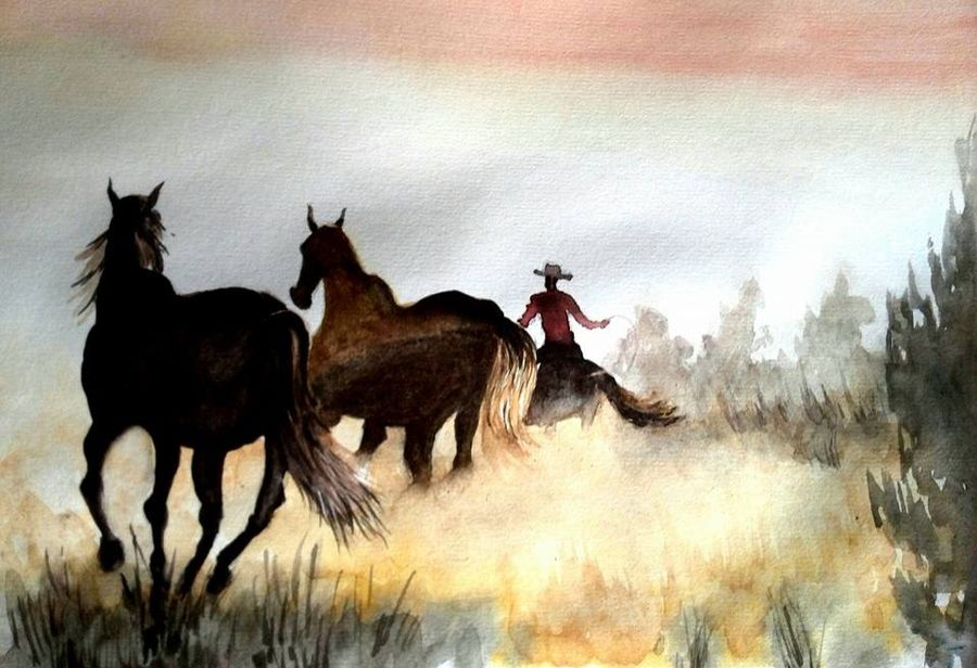 wild west, 11 x 8 inch, deepthi telikicherla,nature paintings,paintings for living room,wildlife paintings,animal paintings,horse paintings,thick paper,watercolor,11x8inch,GAL08822272Nature,environment,Beauty,scenery,greenery,trees,horses,beautiful,leaves