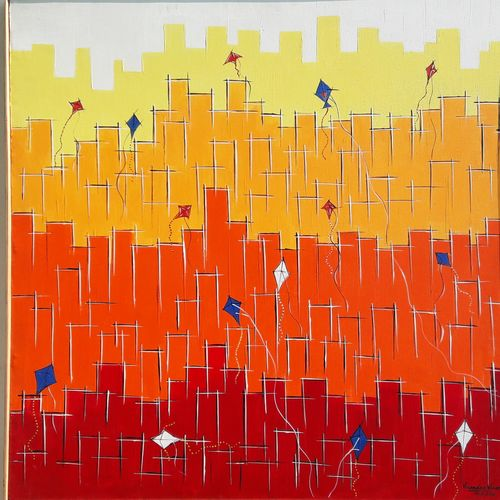 kites, 36 x 36 inch, virender verma,36x36inch,canvas,paintings,abstract paintings,cityscape paintings,modern art paintings,conceptual paintings,paintings for dining room,paintings for living room,paintings for bedroom,paintings for office,paintings for kids room,paintings for hotel,paintings for school,paintings for hospital,acrylic color,GAL01272422720