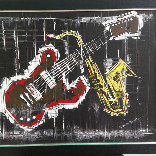 musical instruments, 24 x 18 inch, virender verma,24x18inch,canvas board,paintings,abstract paintings,modern art paintings,paintings for dining room,paintings for living room,paintings for bedroom,paintings for office,paintings for kids room,paintings for hotel,paintings for school,paintings for hospital,acrylic color,GAL01272422721