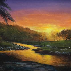 sun set at river side, 26 x 18 inch, dipu jose,26x18inch,canvas,paintings,nature paintings,paintings for dining room,paintings for living room,paintings for bedroom,paintings for office,paintings for hotel,acrylic color,GAL0727222723Nature,environment,Beauty,scenery,greenery