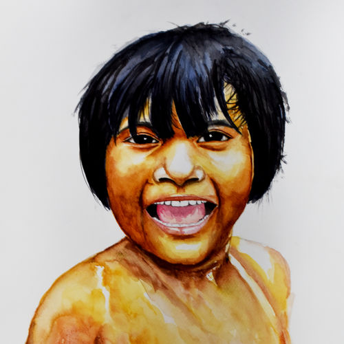 smile, 15 x 22 inch, ravi shankar ghosh,15x22inch,fabriano sheet,paintings,portrait paintings,portraiture,paintings for dining room,paintings for living room,paintings for kids room,paintings for dining room,paintings for living room,paintings for kids room,watercolor,GAL01275022724