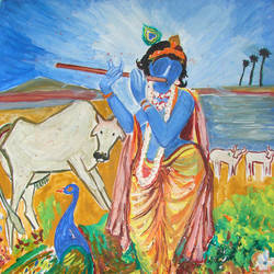 krishna with cow, 13 x 17 inch, anand manchiraju,13x17inch,ivory sheet,paintings,religious paintings,radha krishna paintings,paintings for dining room,paintings for living room,paintings for bedroom,paintings for office,paintings for hotel,paintings for school,paintings for hospital,paintings for dining room,paintings for living room,paintings for bedroom,paintings for office,paintings for hotel,paintings for school,paintings for hospital,watercolor,GAL01254022730