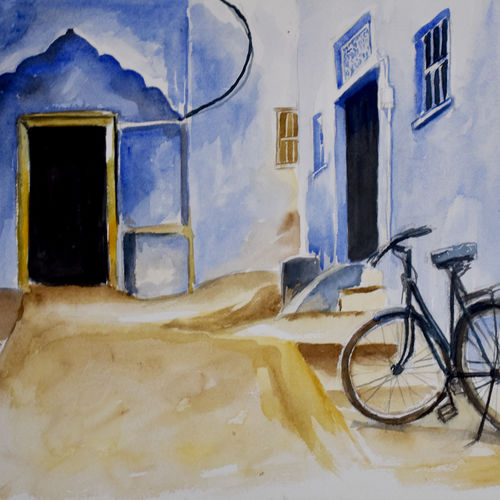 cycle - in the city of blue, 17 x 12 inch, ravi shankar ghosh,17x12inch,handmade paper,paintings,cityscape paintings,landscape paintings,still life paintings,paintings for dining room,paintings for living room,paintings for office,paintings for hotel,watercolor,GAL01275022731