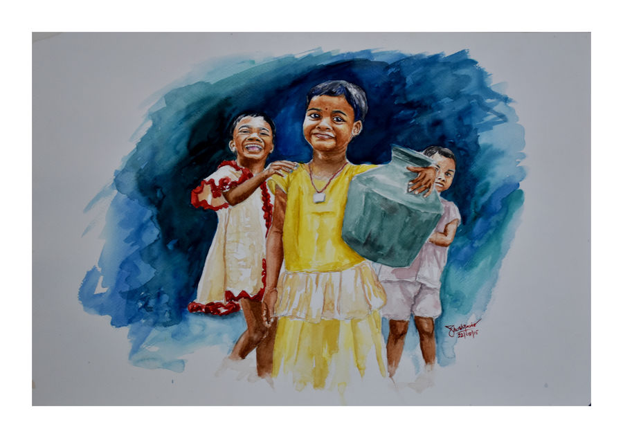 let smile together, 22 x 15 inch, ravi shankar ghosh,22x15inch,fabriano sheet,paintings,figurative paintings,portrait paintings,expressionist paintings,paintings for dining room,paintings for living room,paintings for bedroom,paintings for kids room,paintings for school,watercolor,GAL01275022733