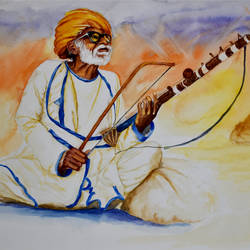 old man - rajasthani banjara musician, 22 x 15 inch, ravi shankar ghosh,22x15inch,fabriano sheet,paintings,figurative paintings,conceptual paintings,portrait paintings,impressionist paintings,paintings for dining room,paintings for living room,watercolor,GAL01275022737