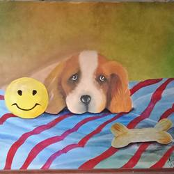 puppy at holiday, 18 x 14 inch, anuradha baliga,18x14inch,canvas,paintings,animal paintings,dog painting,paintings for dining room,paintings for living room,paintings for bedroom,paintings for office,paintings for kids room,paintings for hotel,paintings for school,paintings for hospital,acrylic color,oil color,GAL01277522742