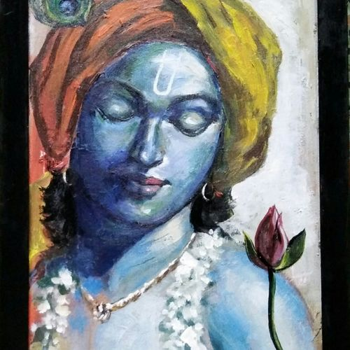 lord krishna, 16 x 22 inch, debdas maumder,16x22inch,hardboard,paintings,religious paintings,impressionist paintings,radha krishna paintings,paintings for dining room,paintings for living room,paintings for bedroom,paintings for hospital,acrylic color,GAL065522746