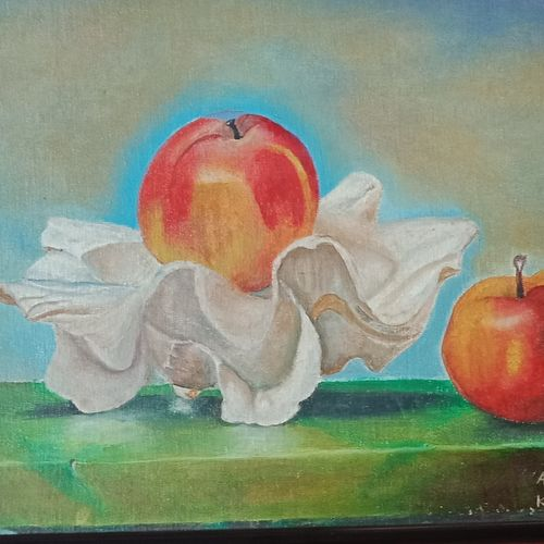 apple, 18 x 14 inch, anuradha baliga,18x14inch,canvas,paintings,still life paintings,paintings for dining room,paintings for living room,paintings for hotel,paintings for kitchen,paintings for school,oil color,GAL01277522747
