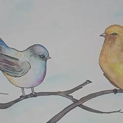 birds, 8 x 11 inch, anuradha baliga,8x11inch,cartridge paper,paintings,wildlife paintings,nature paintings,love paintings,paintings for living room,paintings for bedroom,paintings for kids room,paintings for hotel,paintings for school,watercolor,GAL01277522748Nature,environment,Beauty,scenery,greenery