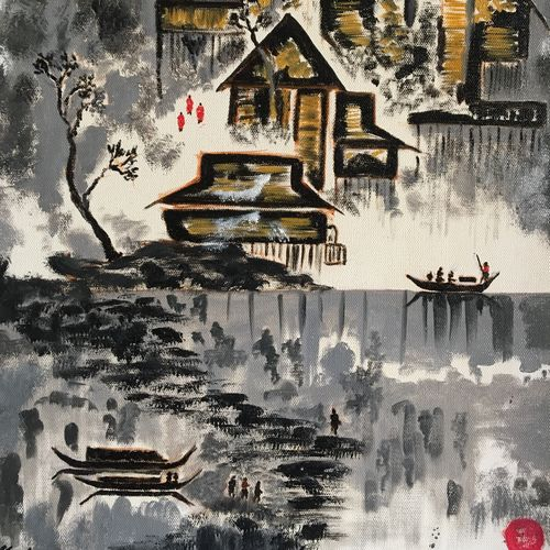 chinese painting by rang, 14 x 18 inch, meghana verulkar,14x18inch,canvas,paintings,figurative paintings,modern art paintings,paintings for dining room,paintings for living room,paintings for bedroom,oil color,GAL01261522749