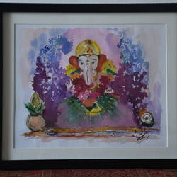 ganpati bappa, 12 x 14 inch, meghana verulkar,12x14inch,thick paper,paintings,religious paintings,still life paintings,paintings for living room,paintings for office,paintings for kids room,paintings for hotel,paintings for school,paintings for hospital,watercolor,GAL01261522750