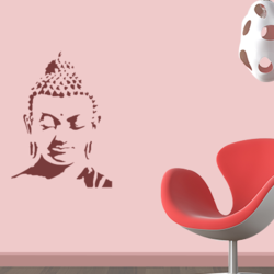 wall stencil: peace of buddha wall design stencils,1 stencils (size 18x24 inches) | reusable | diy, 12 x 12 inch, wall stencil designs,12x12inch,ohp plastic sheets,flower designs,plastic,GAL0122758,GAL0122758