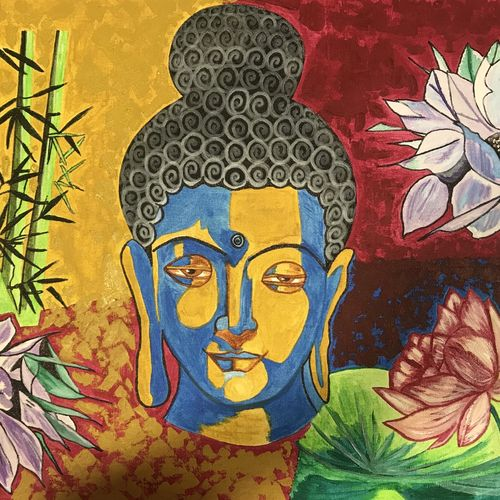 buddha - mindful buddha, 30 x 20 inch, renu thomas,30x20inch,canvas,paintings,buddha paintings,religious paintings,paintings for living room,paintings for office,paintings for hotel,paintings for living room,paintings for office,paintings for hotel,acrylic color,pen color,GAL01200322760