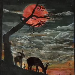 red moon, 11 x 14 inch, gerald jerry,11x14inch,drawing paper,paintings,nature paintings,paintings for living room,paintings for kids room,watercolor,GAL01251822765