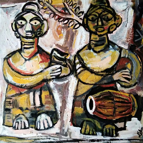water carrier , 30 x 24 inch, debdas maumder,30x24inch,canvas,paintings,folk art paintings,paintings for dining room,paintings for living room,paintings for bedroom,paintings for office,paintings for kids room,paintings for hotel,paintings for school,paintings for hospital,acrylic color,GAL065522769