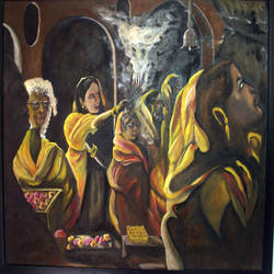 durga pooja, 38 x 32 inch, satyanarayan bairagi,38x32inch,canvas,paintings,religious paintings,paintings for living room,oil color,GAL0361022770