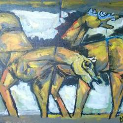 horse painting, 30 x 24 inch, debdas maumder,30x24inch,hardboard,paintings,abstract paintings,horse paintings,paintings for dining room,paintings for office,paintings for kids room,paintings for hotel,paintings for hospital,acrylic color,GAL065522771