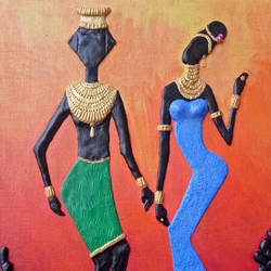 african couple, 24 x 16 inch, shweta  ostawal,24x16inch,canvas,paintings,religious paintings,acrylic color,ceramic work,GAL01235022782