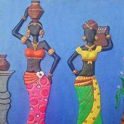 african women with water, 24 x 16 inch, shweta  ostawal,24x16inch,canvas,paintings,portrait paintings,acrylic color,ceramic work,GAL01235022785