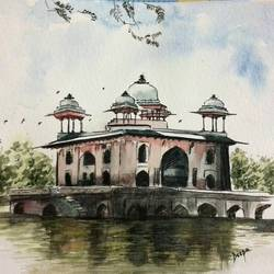 heritage, 6 x 8 inch, deepthi telikicherla,conceptual paintings,paintings for bedroom,brustro watercolor paper,watercolor,6x8inch,GAL08822279