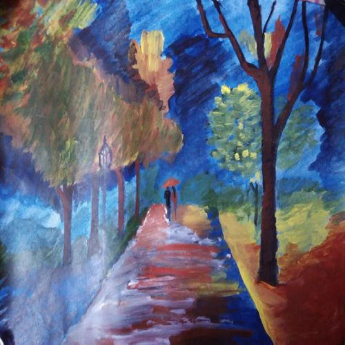 a walk to remember, 8 x 12 inch, muktevi lakshmi haritha,conceptual paintings,thick paper,acrylic color,8x12inch,GAL093228