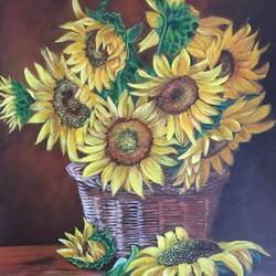 sunflowers , 11 x 15 inch, monisha  singhal,11x15inch,oil sheet,paintings,flower paintings,still life paintings,realism paintings,paintings for dining room,paintings for living room,paintings for bedroom,paintings for office,paintings for hotel,paintings for school,paintings for hospital,acrylic color,GAL0473822804