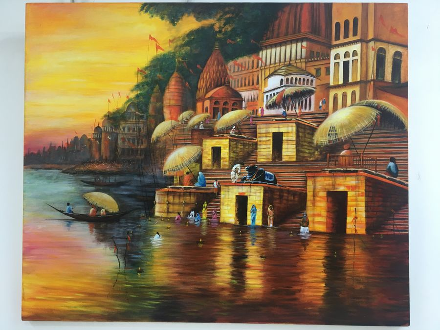 banaras , 36 x 30 inch, monisha  singhal,36x30inch,canvas,paintings,cityscape paintings,landscape paintings,conceptual paintings,religious paintings,art deco paintings,paintings for dining room,paintings for living room,paintings for office,paintings for hotel,paintings for school,paintings for hospital,paintings for dining room,paintings for living room,paintings for office,paintings for hotel,paintings for school,paintings for hospital,acrylic color,GAL0473822805