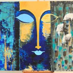 the mighty buddha, 72 x 48 inch, dipannita mukherjee,72x48inch,canvas,paintings,abstract paintings,buddha paintings,flower paintings,modern art paintings,religious paintings,paintings for living room,paintings for hotel,acrylic color,GAL01283422806
