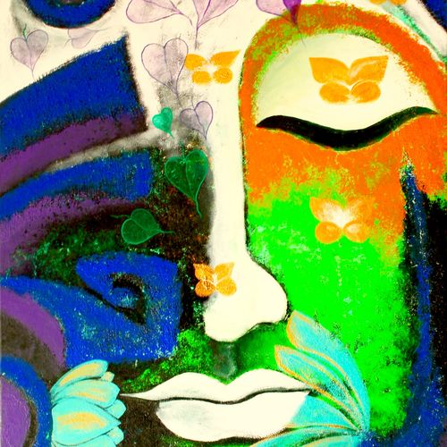 the devine buddha, 18 x 48 inch, dipannita mukherjee,18x48inch,canvas,paintings,abstract paintings,buddha paintings,modern art paintings,religious paintings,paintings for living room,paintings for hotel,acrylic color,wood cut,GAL01283422807